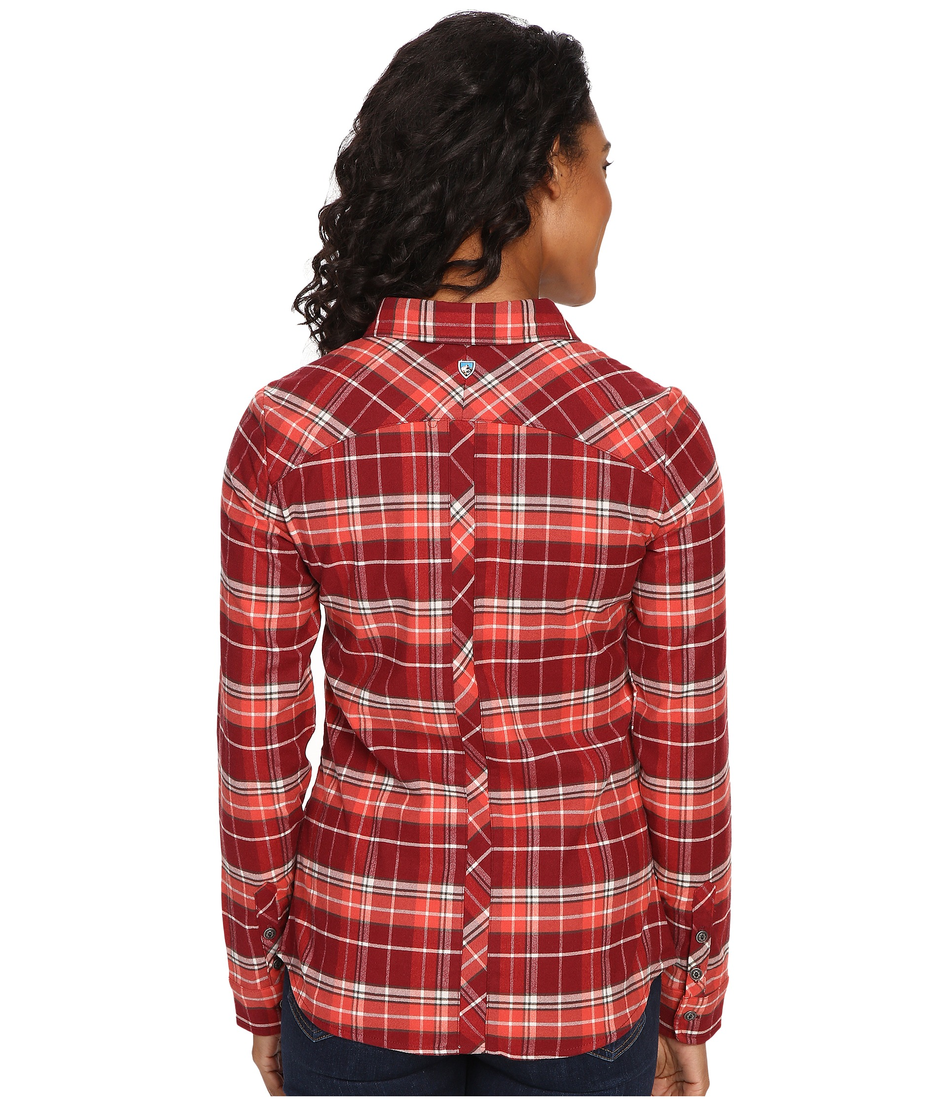 Kuhl alina flannel shirt red spice free for Athletic cut flannel shirts