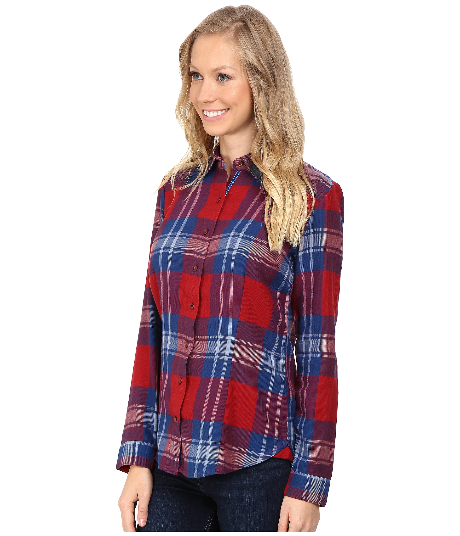 Kuhl ophelia flannel shirt red spice free for Athletic cut flannel shirts