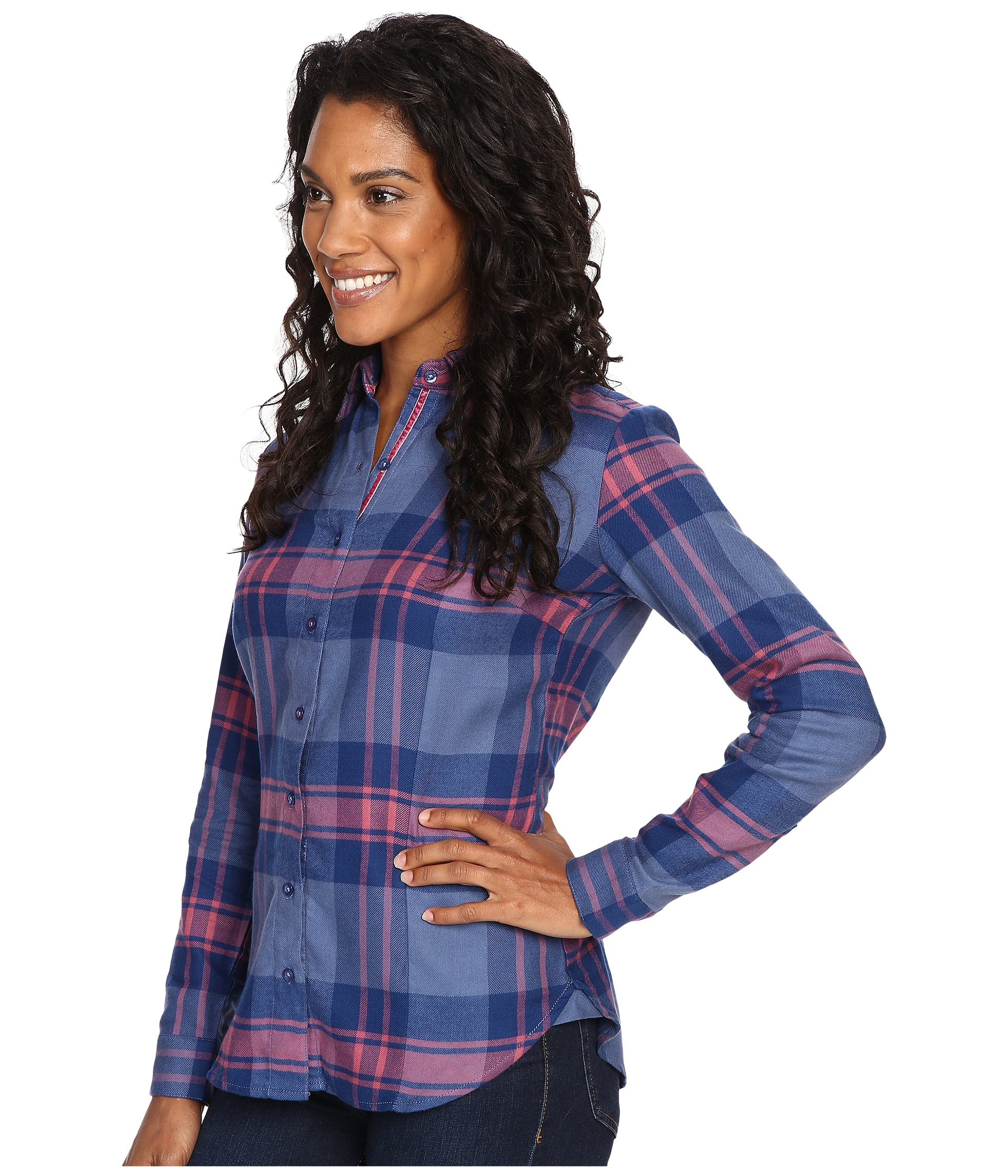 Kuhl ophelia flannel shirt storm blue free for Athletic cut flannel shirts