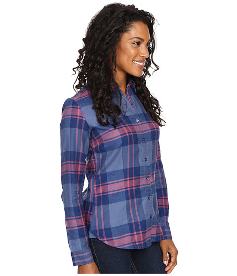 Kuhl ophelia flannel shirt storm blue for Athletic cut flannel shirts