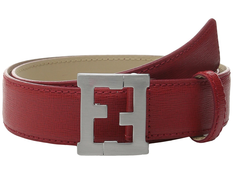 Fendi Kids Leather Belt w/ Logo Buckle Toddler/Little Kids/Big Kids Red Boys Belts