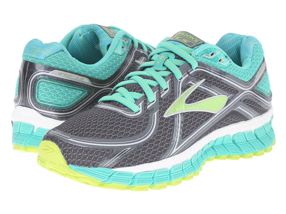 Brooks Adrenaline GTS 16 Anthracite/Aqua Green/Lime Punch Womens Running Shoes