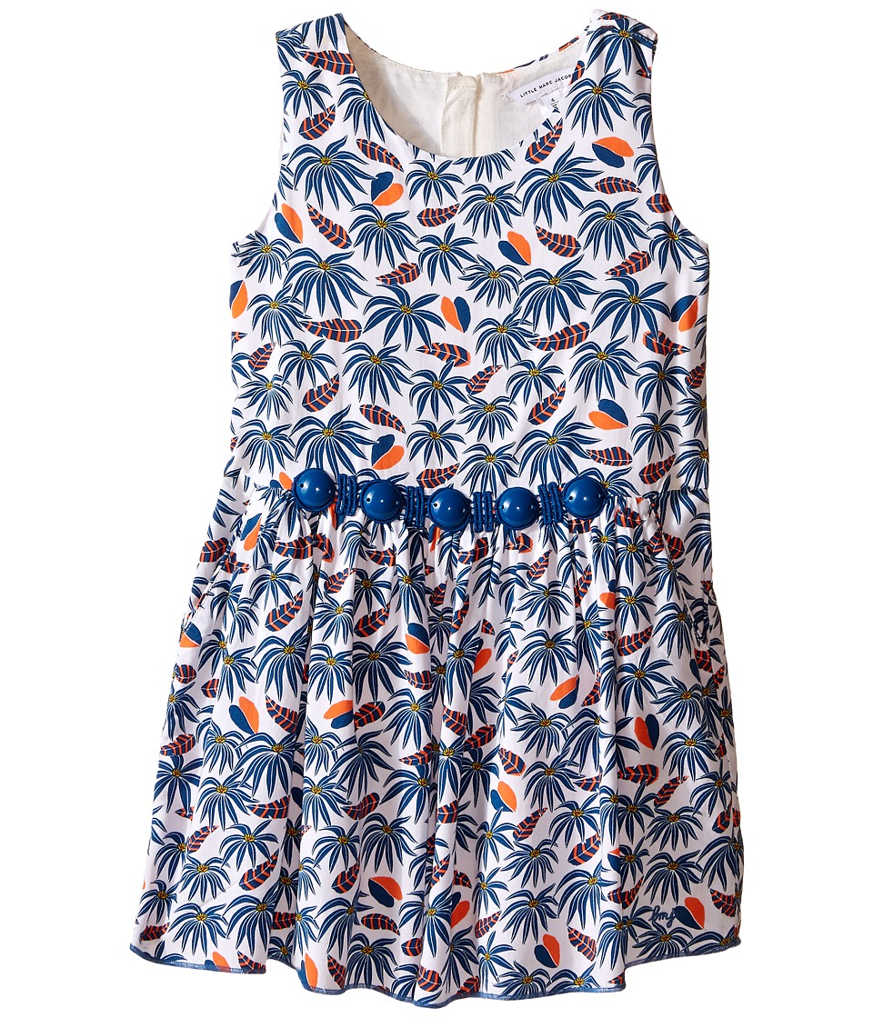 Little Marc Jacobs Twill Viscose Lined Dress All Over Printed Toddler/Little Kids White Blue Girls Dress