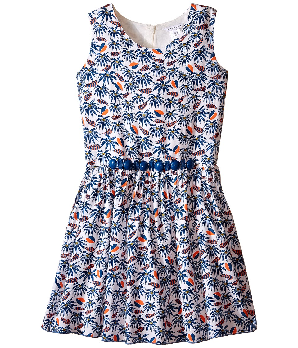 Little Marc Jacobs Twill Viscose Lined Dress All Over Printed Big Kids White Blue Girls Dress