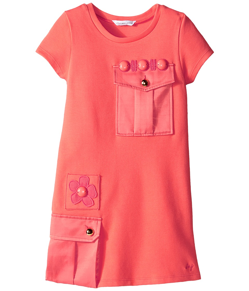 Little Marc Jacobs Milano Dress with Cabochons Toddler/Little Kids Coral Girls Dress