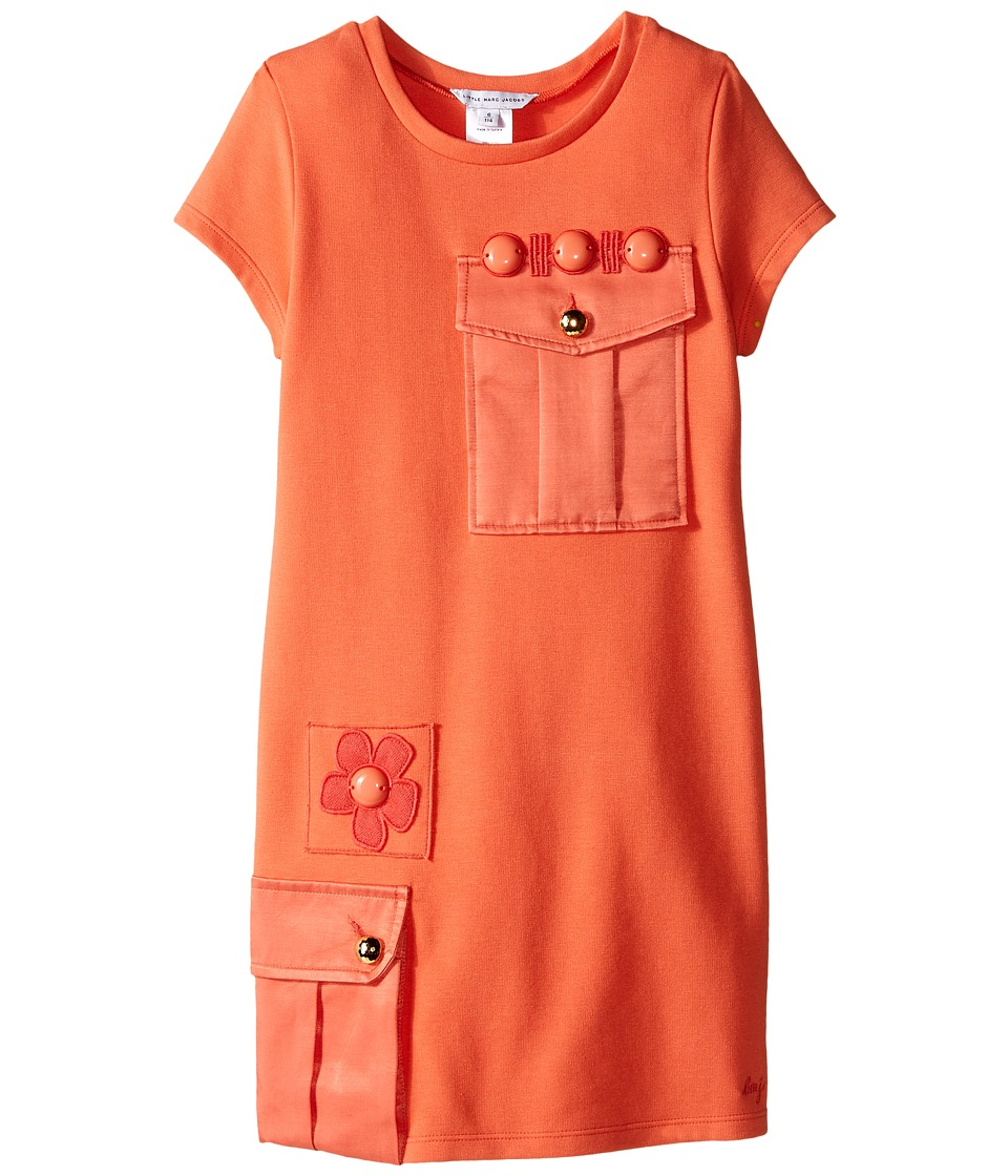 Little Marc Jacobs Milano Dress with Cabochons Little Kids/Big Kids Coral Girls Dress