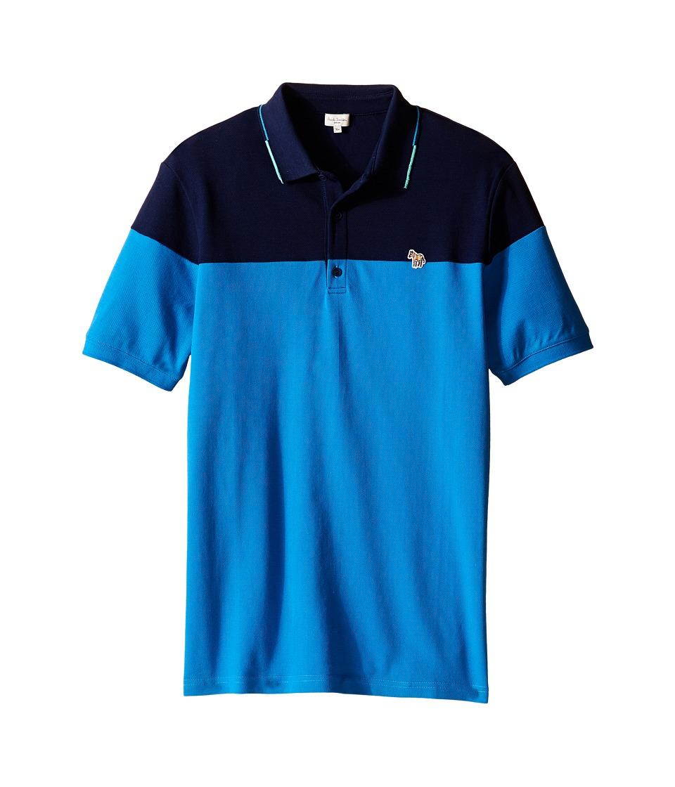 Paul Smith Junior Pique Polo Shirt Big Kids Blue Grey Boys Clothing