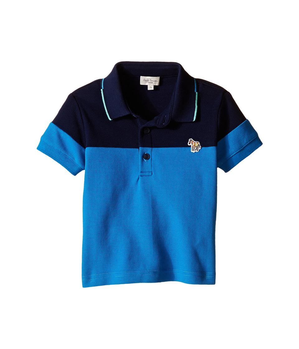 Paul Smith Junior Pique Polo Shirt Toddler/Little Kids Blue Grey Boys Short Sleeve Knit