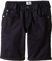 Armani Junior - Navy Stretch Cotton Roll Shorts (Toddler/Little Kids)