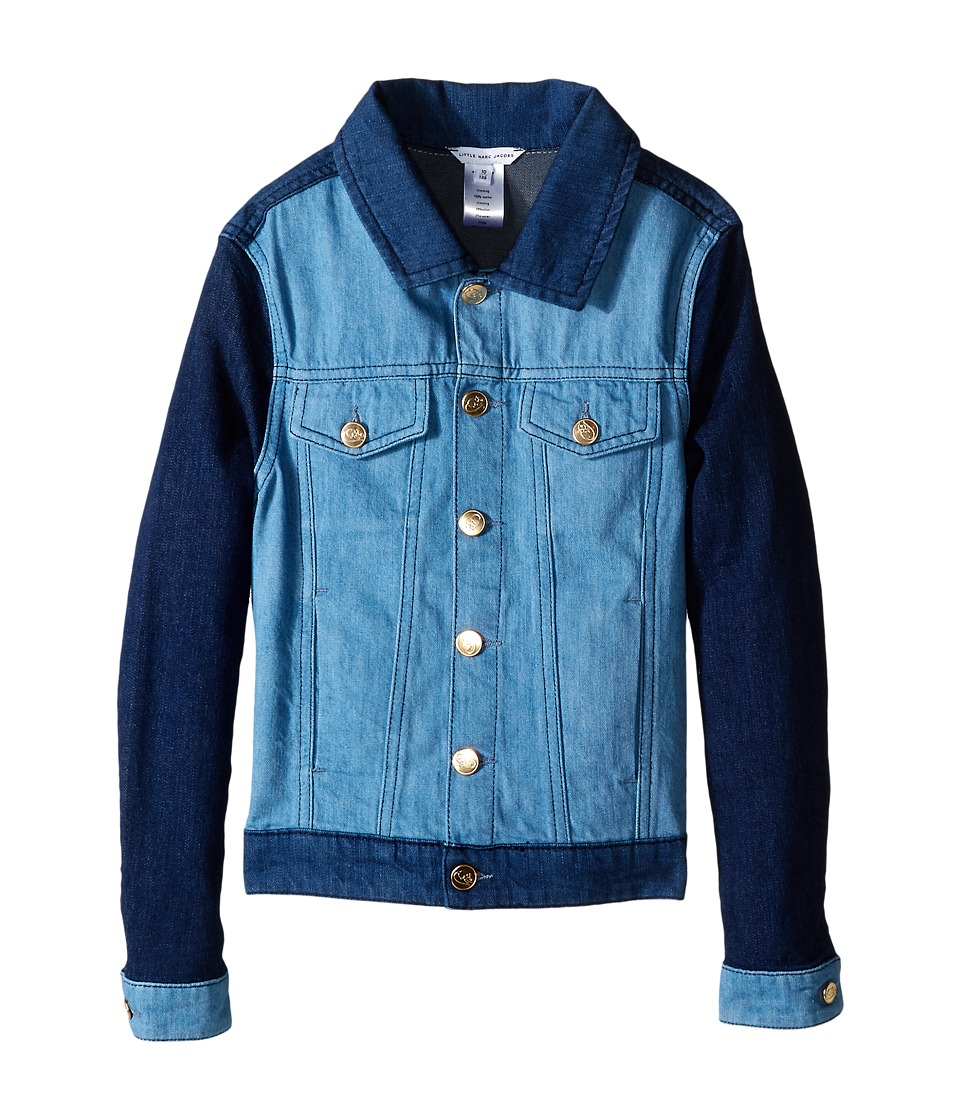 Little Marc Jacobs Denim Jacket Leather Flag Little Kids/Big Kids Blue Denim Girls Coat