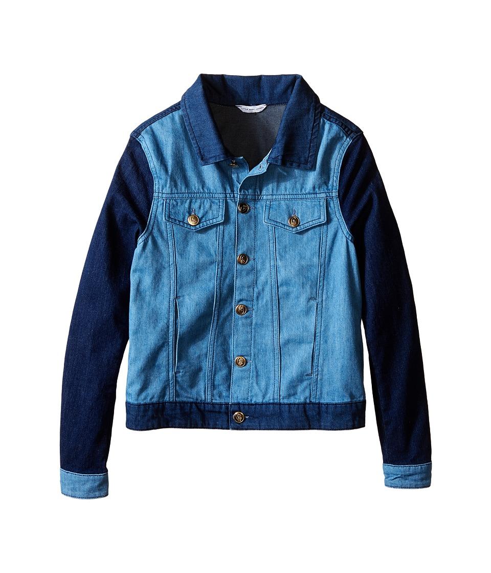 Little Marc Jacobs Denim Jacket Leather Flag Big Kids Blue Denim Girls Coat