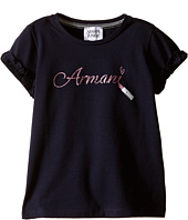 Armani Junior - Navy T-Shirt with Ruffled Sleeves and Glitter Lipstick Logo (Toddler/Little Kids/Big Kids)