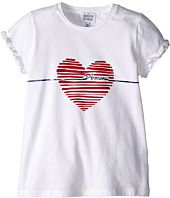 Armani Junior - T-Shirt with Red Heart and Ruffled Sleeves (Toddler/Little Kids/Big Kids)