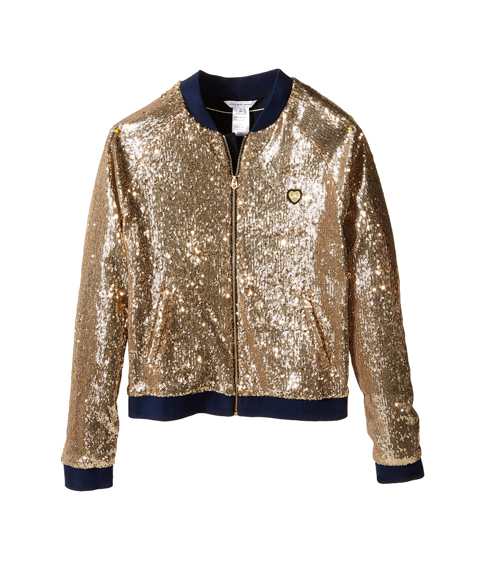 Little Marc Jacobs Crepe Teddy All Over Sequin Big Kids Gold Girls Coat