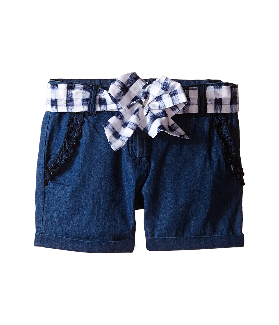 Armani Junior Shorts with Belted Bow in Denim Toddler/Little Kids Denim Girls Shorts