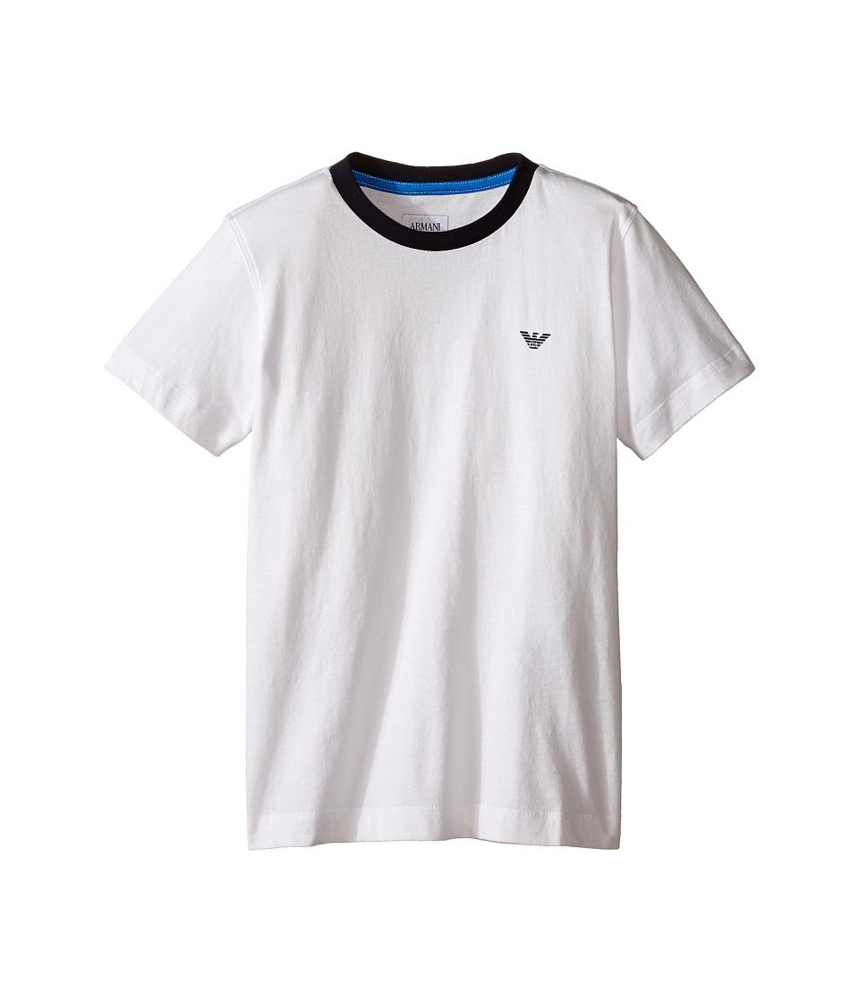 Armani Junior Basic T Shirt with Navy Logo Big Kids White Wash Boys T Shirt