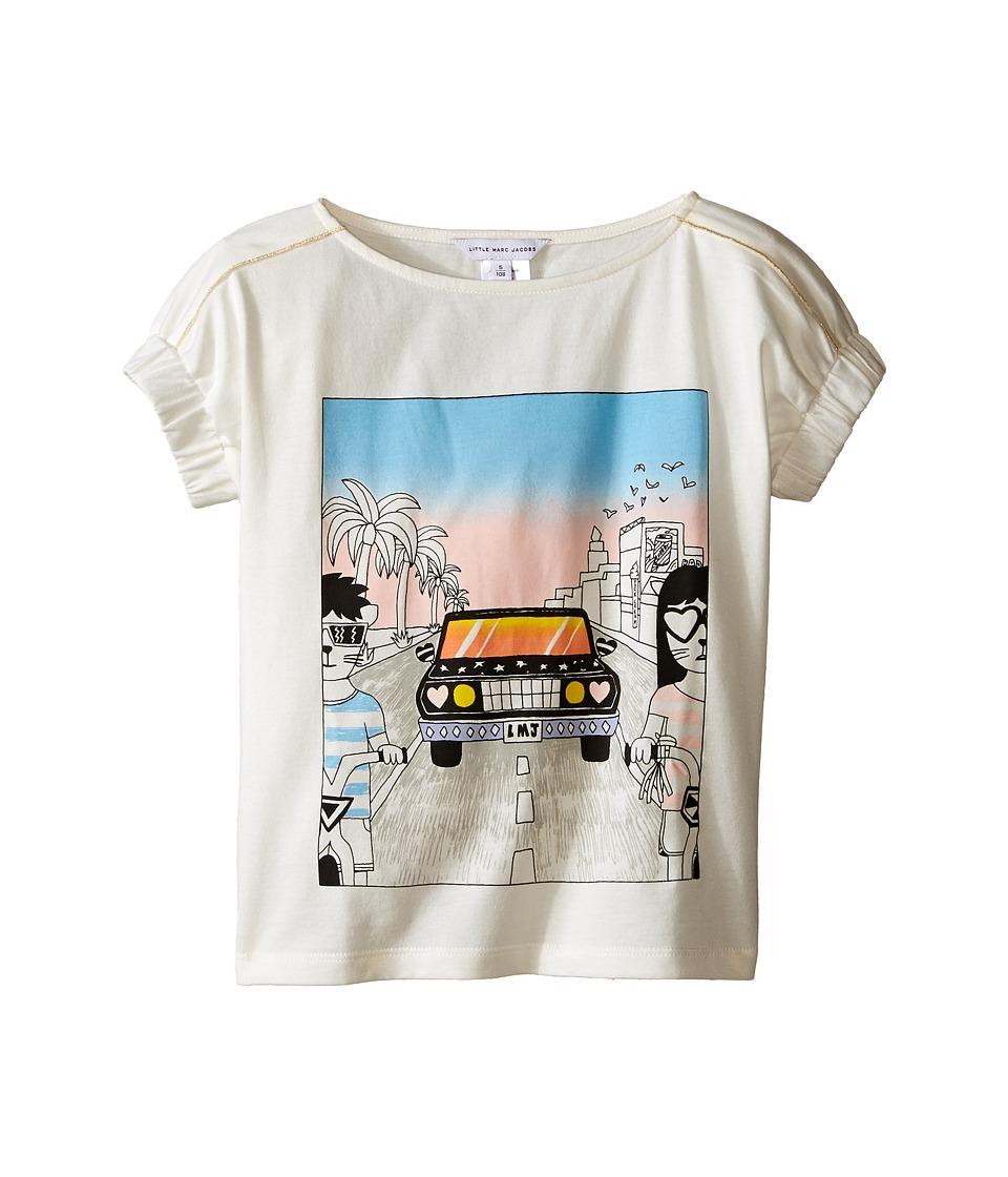 Little Marc Jacobs Cotton Jersey Tee Shirt Car Or Hello Sunshine Print Toddler/Little Kids Off White Girls T Shirt