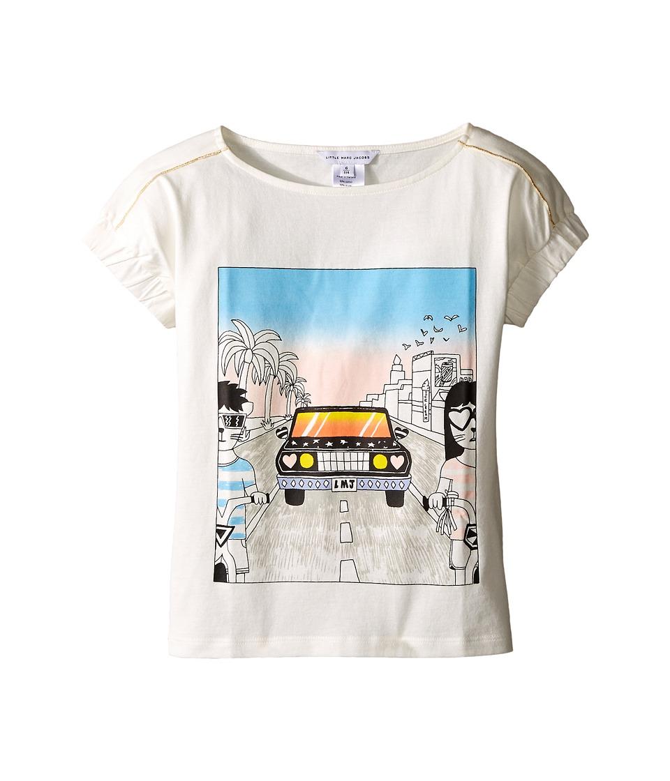Little Marc Jacobs Cotton Jersey Tee Shirt Car Or Hello Sunshine Print Little Kids/Big Kids Off White Girls T Shirt