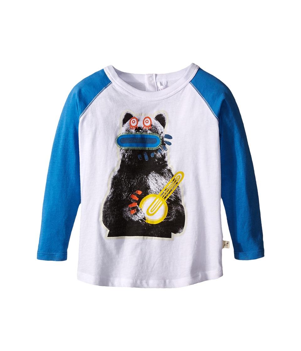 Stella McCartney Kids Max Bear w/ Banjo Raglan Tee Infant White/Blue Boys T Shirt