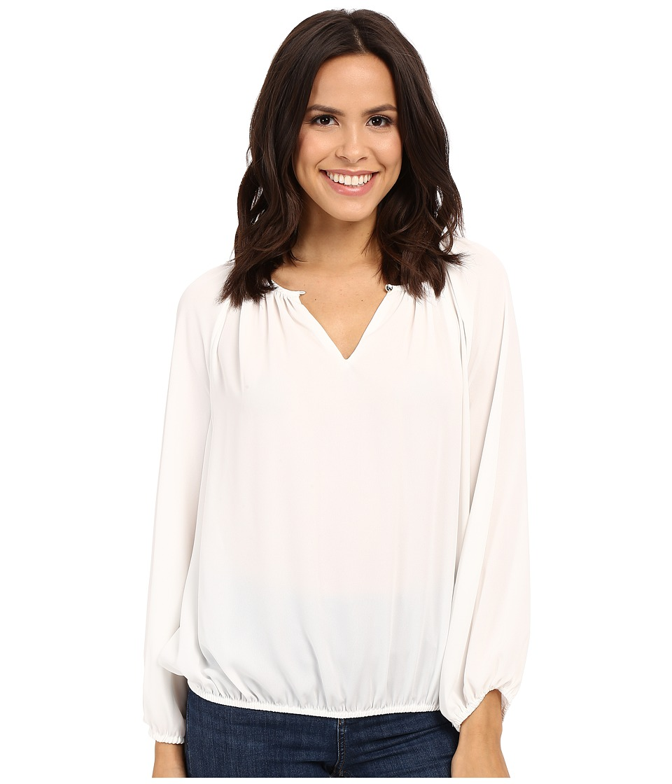 Vince Camuto Long Sleeve Shirred Neck Peasant Blouse New Ivory Womens Blouse
