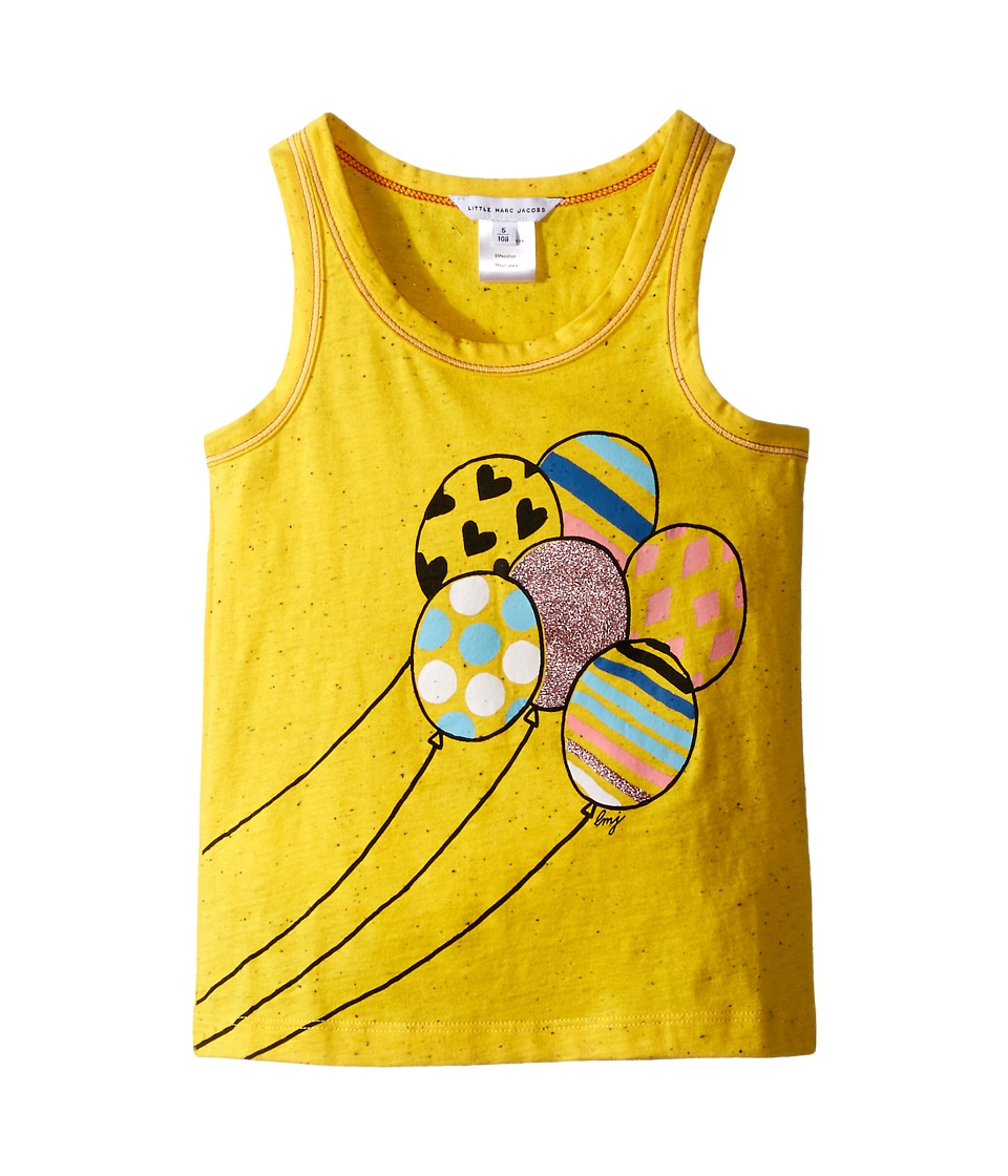 Little Marc Jacobs Jersey Tank Top with Balloons Or Beach Supplies Toddler/Little Kids Yellow Girls Sleeveless