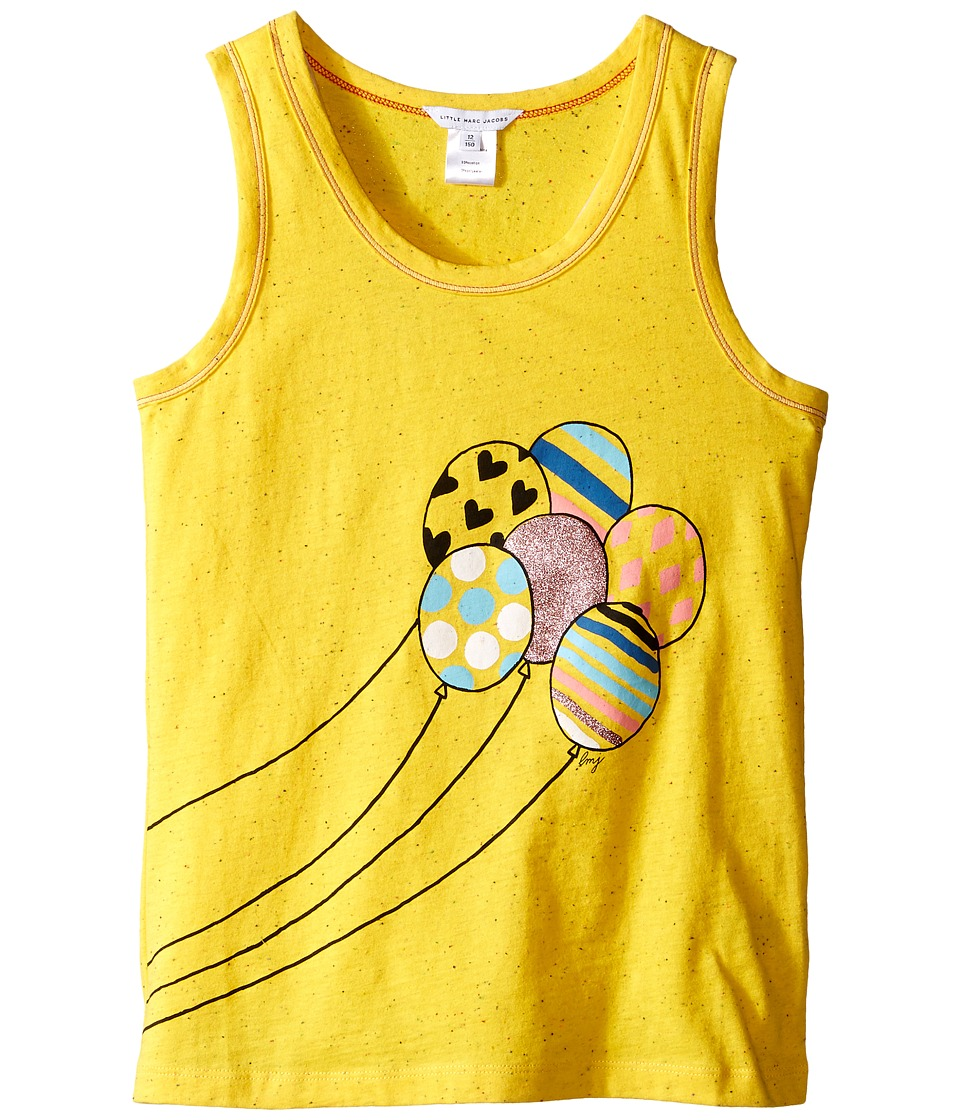 Little Marc Jacobs Jersey Tank Top with Balloons Or Beach Supplies Big Kids Yellow Girls Sleeveless