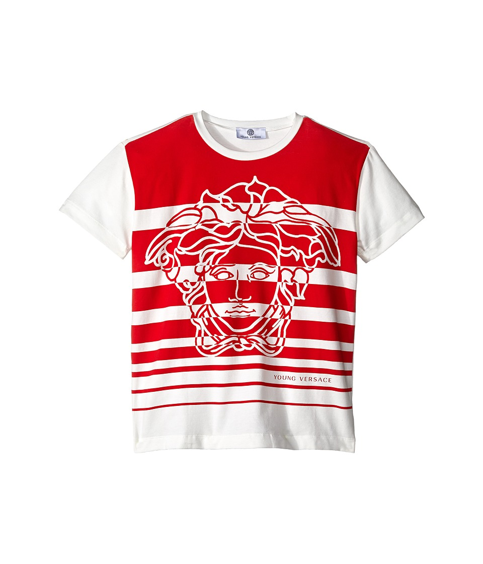 Versace Kids - Striped T-Shirt with Medusa Graphic (Big Kids) (White/Red) Boy