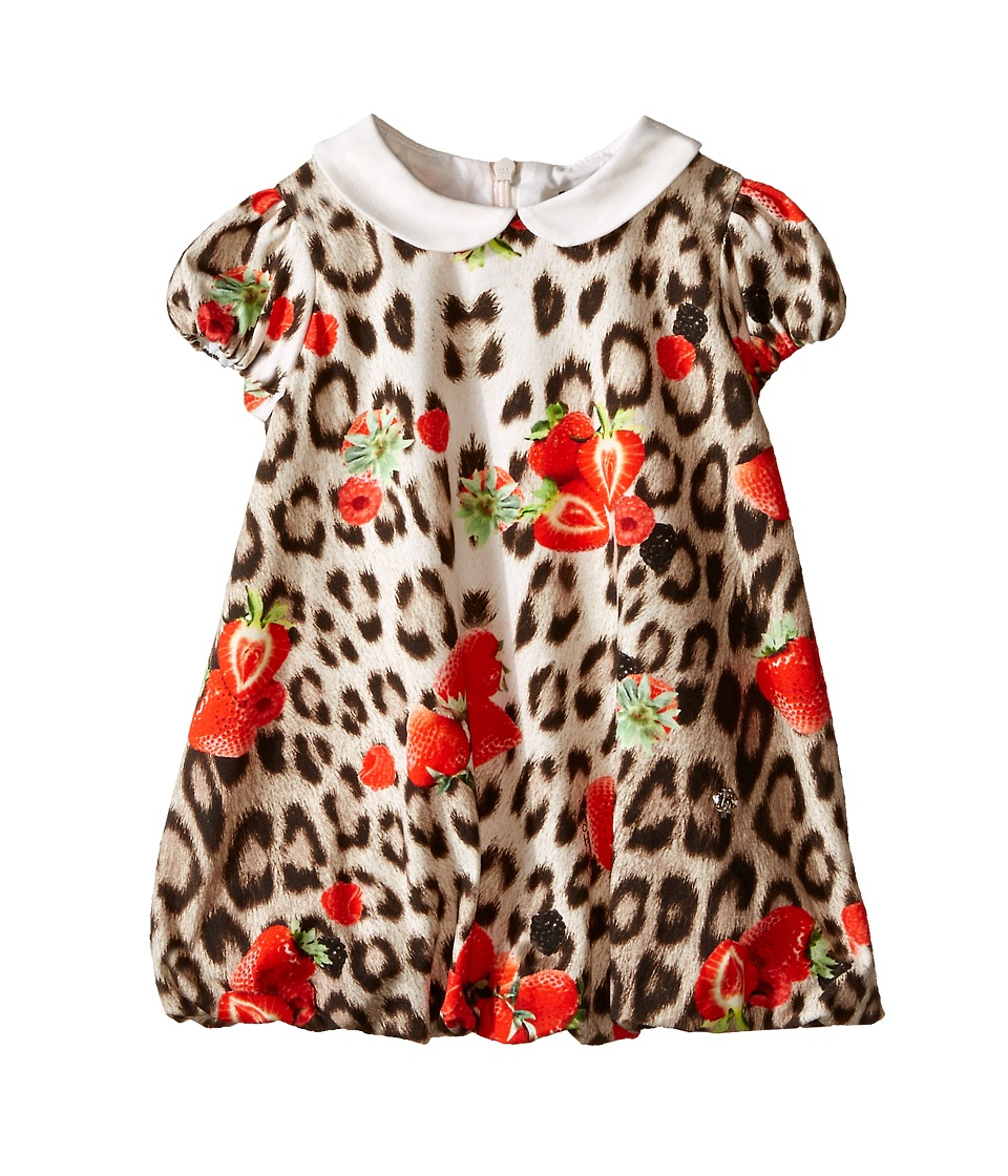 Roberto Cavalli Kids All Over Print Collared Bubble Dress Infant Leopard Berry Girls Dress