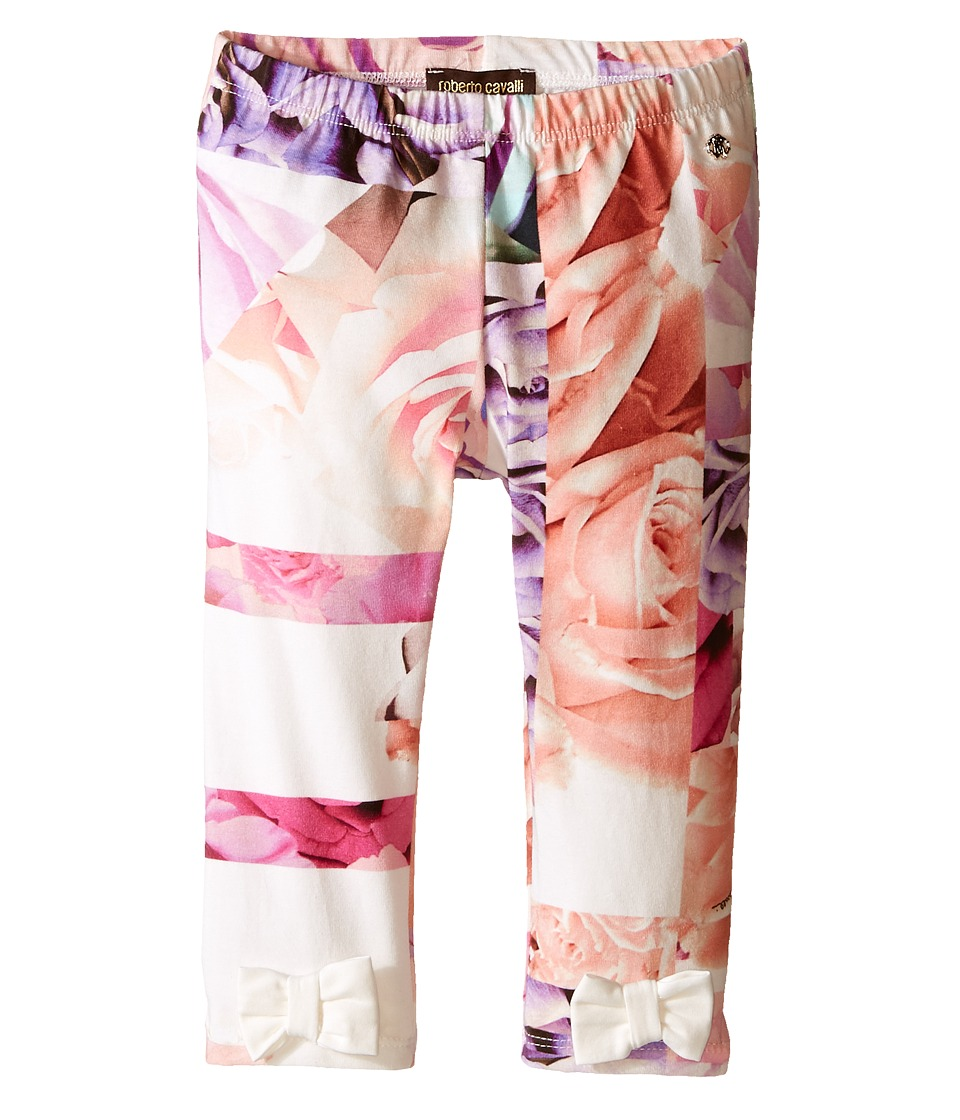 Roberto Cavalli Kids All Over Printed Leggings with Bows Infant Rose Print Girls Casual Pants