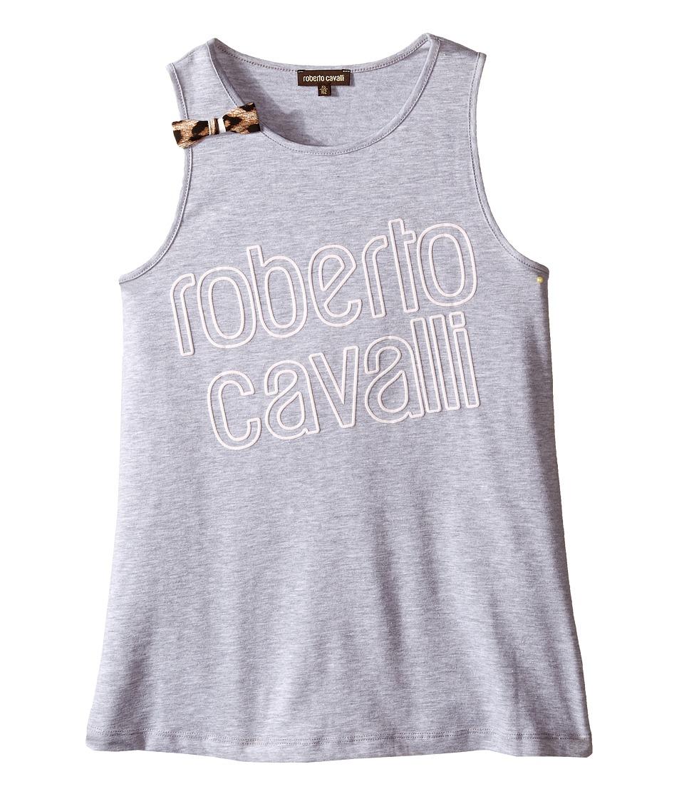 Roberto Cavalli Kids Logo Tank Top with Bow Detail Big Kids Grey Girls Sleeveless
