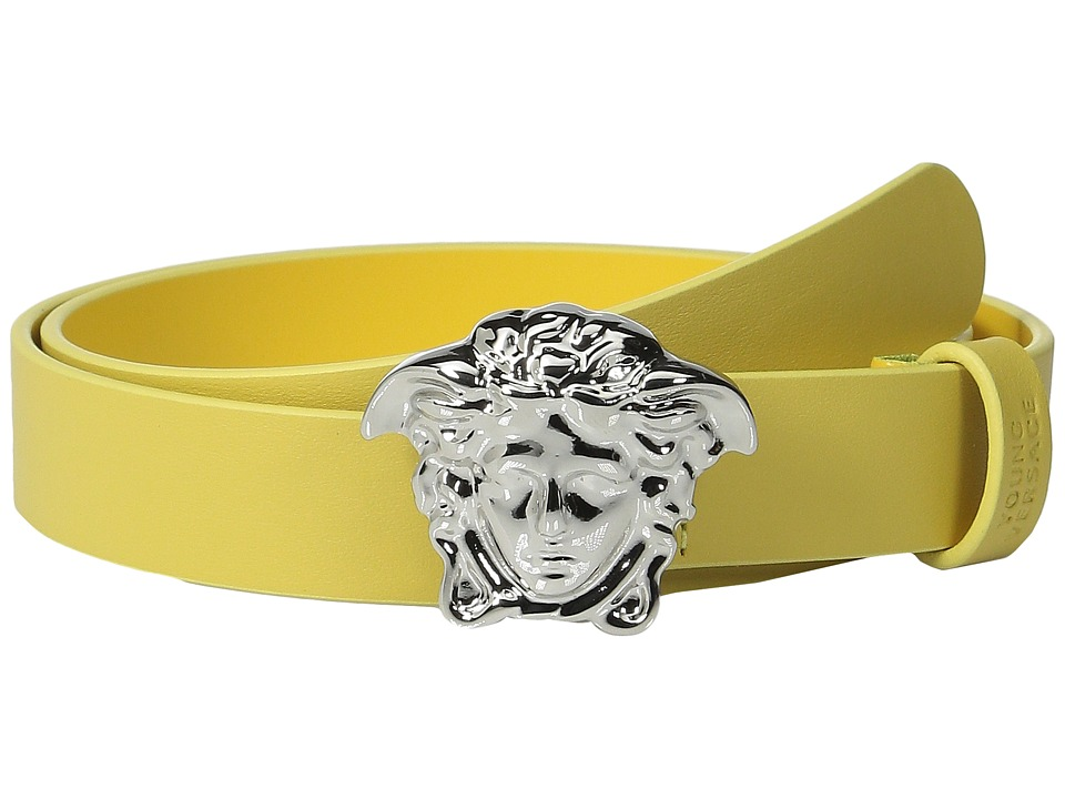Versace Kids Leather Belt with Medusa Buckle Big Kids Yellow Boys Belts