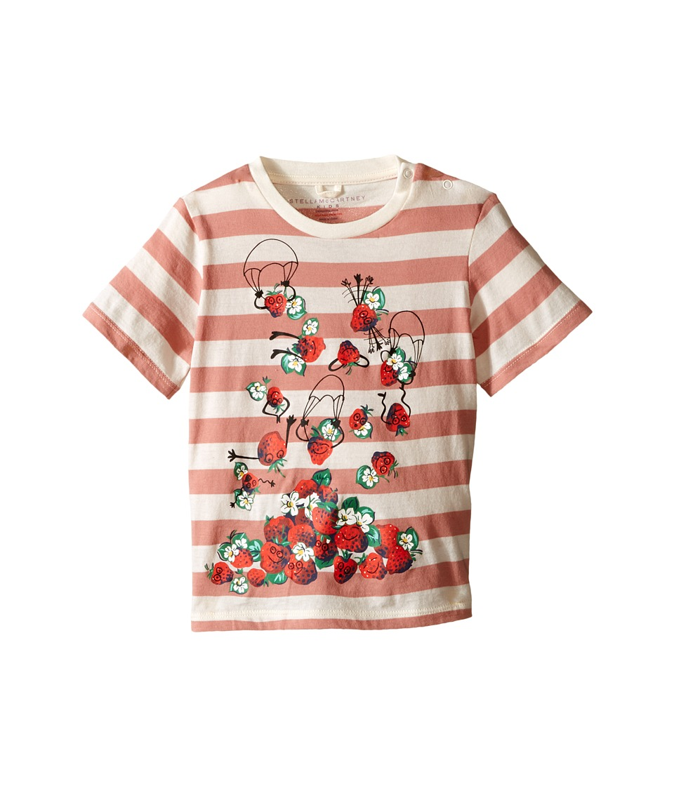 Stella McCartney Kids Chuckle Short Sleeve Striped Strawberries Tee Infant Pink Girls Short Sleeve Pullover