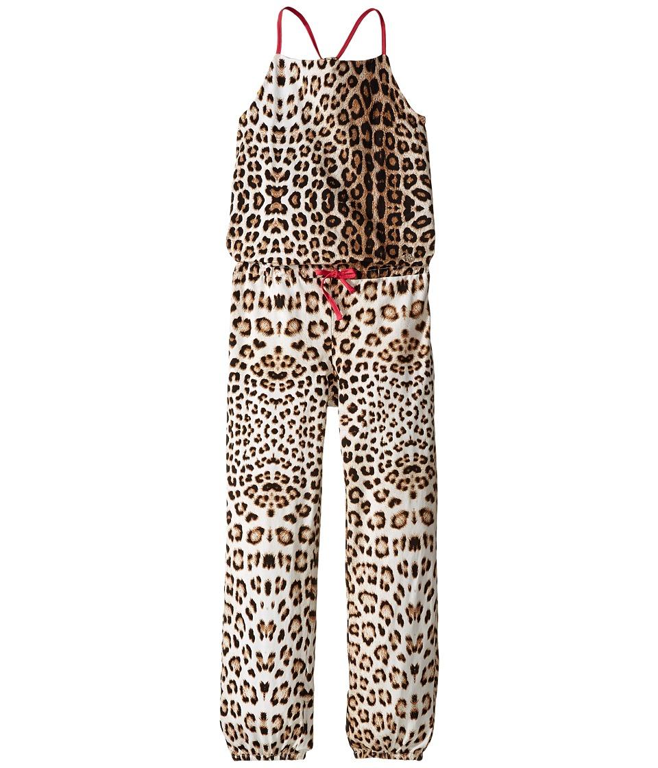 Roberto Cavalli Kids All Over Print Jumpsuit Big Kids Leopard Girls Jumpsuit Rompers One Piece