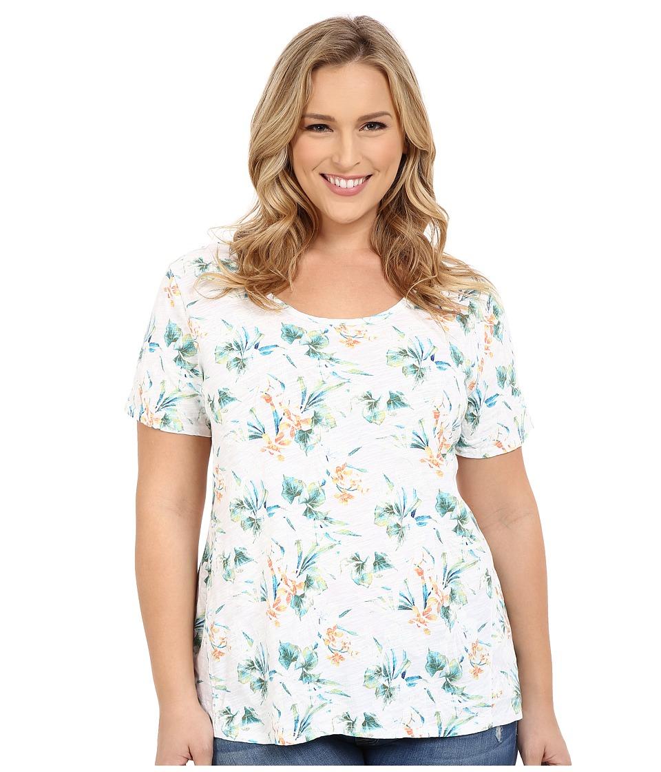 Fresh Produce Plus Size Paradise Luna Top White Womens Short Sleeve Pullover