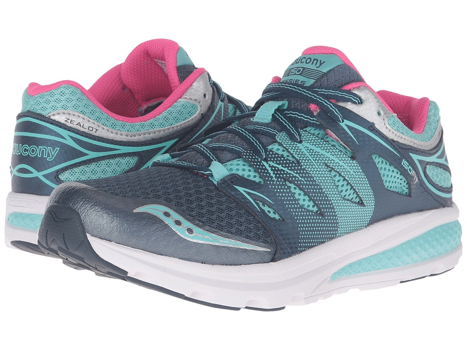 Saucony Kids Zealot (Big Kid) (Navy/Turquoise) Girls Shoes