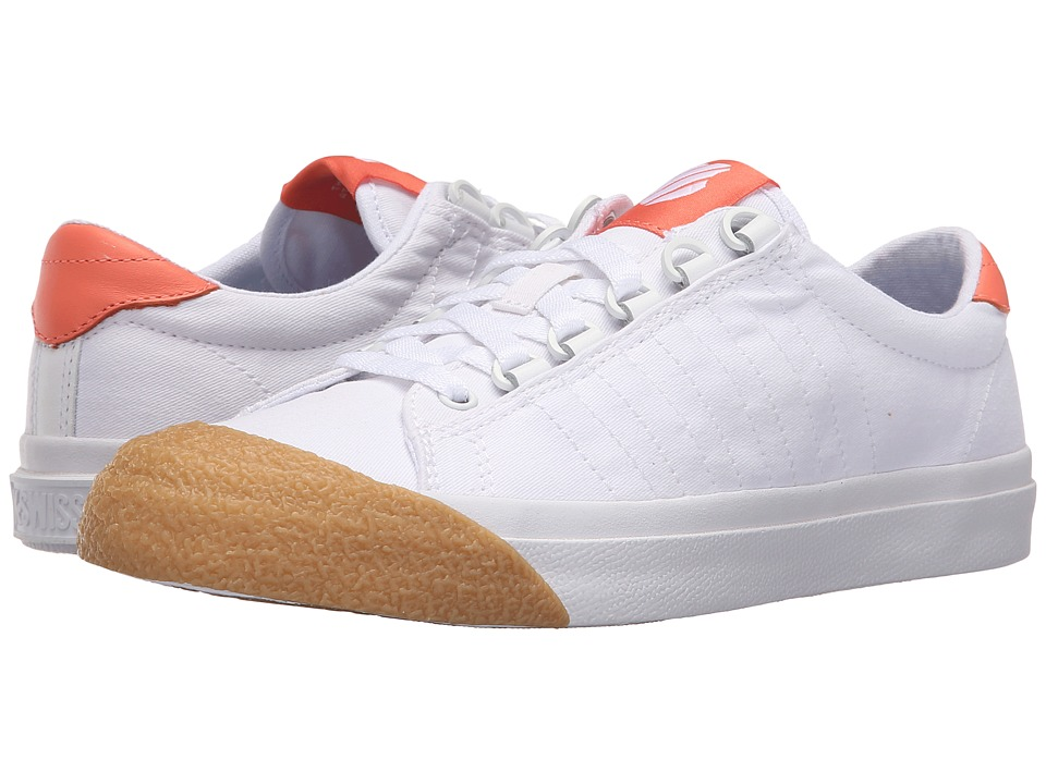 K-Swiss Irvine T (White/Fusion Coral/Dark Gum Canvas) Women
