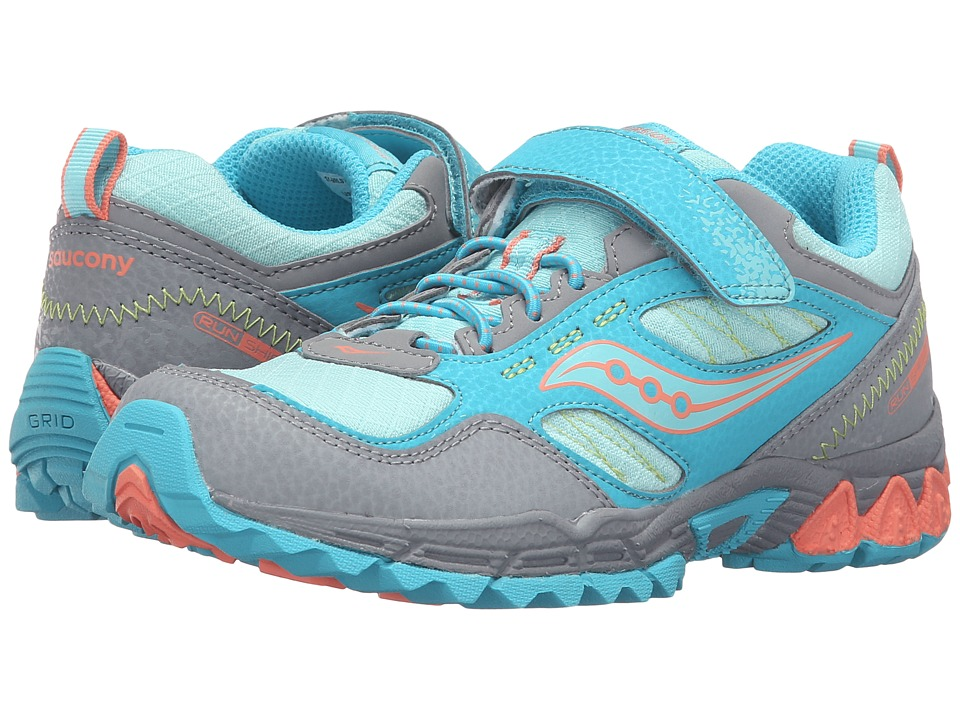 Saucony Kids - Excursion Water Shield A/C (Little Kid) (Grey/Turquoise/Coral) Girls Shoes