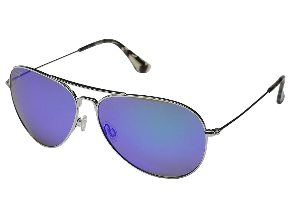 Maui Jim - Mavericks (Silver/Blue Hawaii) Sport Sunglasses
