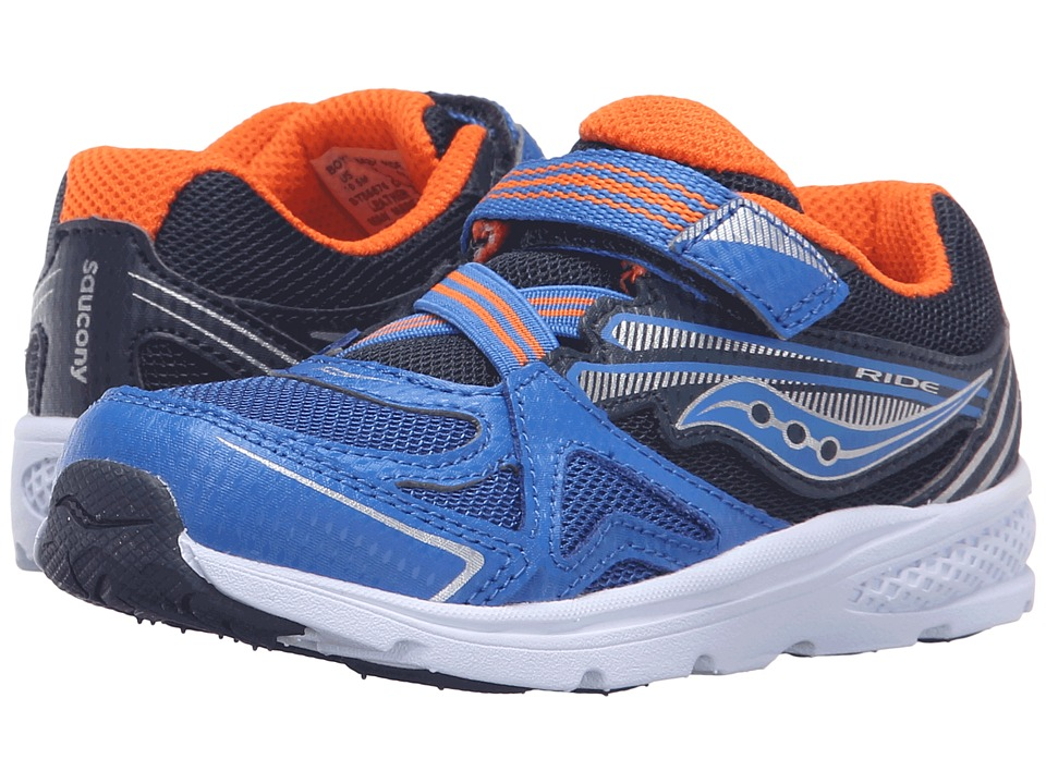 Saucony Kids - Ride (Toddler/Little Kid) (Blue/Orange) Bo...