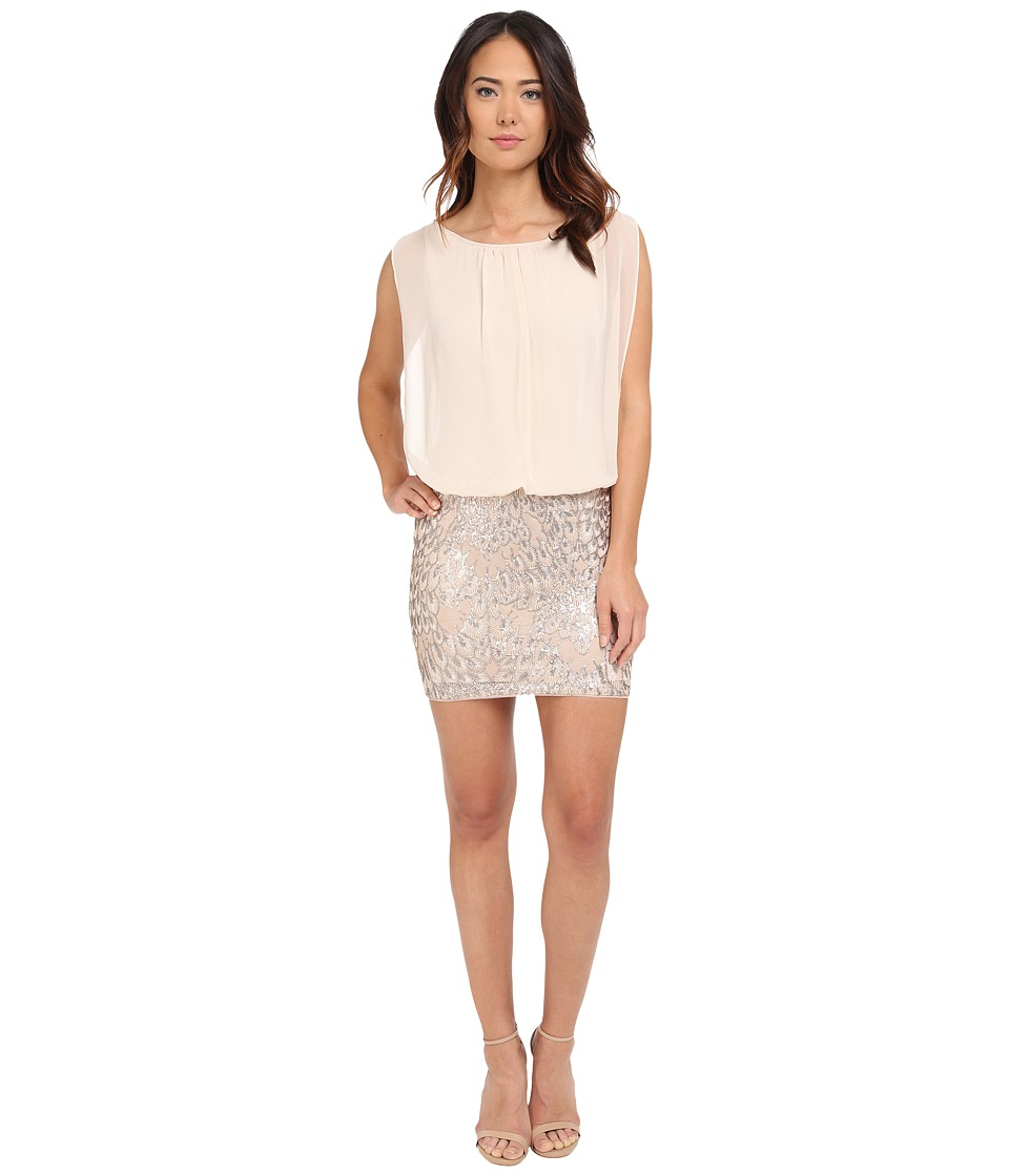 Aidan Mattox Blousson Cocktail Dress with Embroidered Feather Motif Champagne Womens Dress