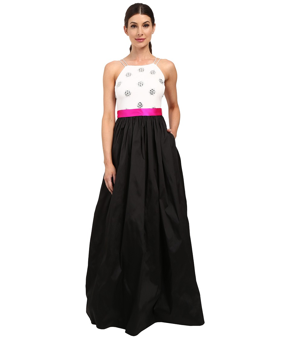 Aidan Mattox Ball Gown with Bead Bodice and Contrast Sash Black/Ivory Womens Dress