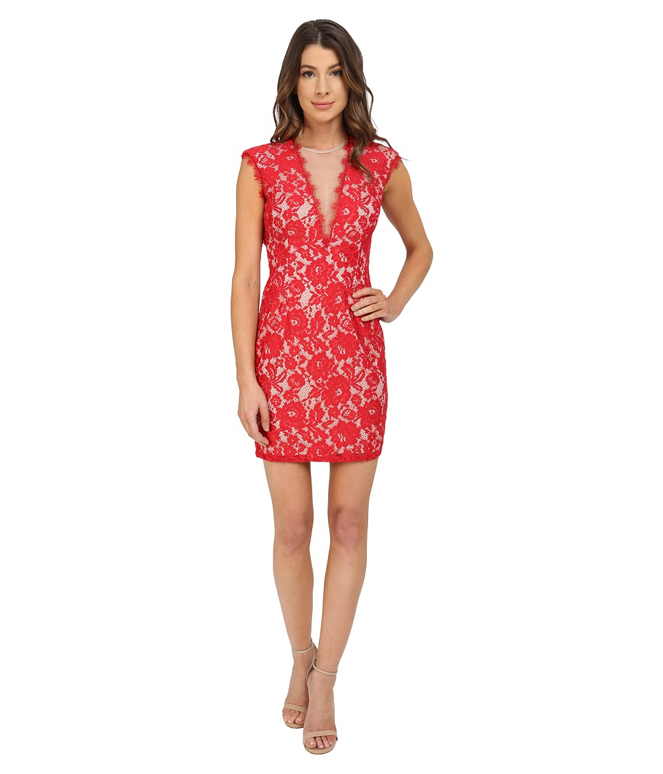 Aidan Mattox Cap Sleeve Stretch Lace Cocktail Dress Red/Nude Womens Dress