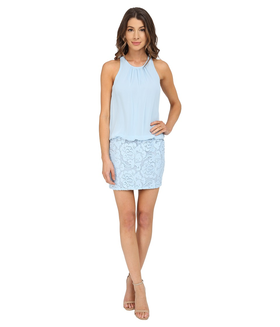 Aidan Mattox Sleeveless Cutaway Halter Blouson with Lace Skirt (Light Blue) Women