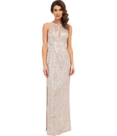Aidan Mattox - Sequin Long Column Gown with Illusion Insets and Back