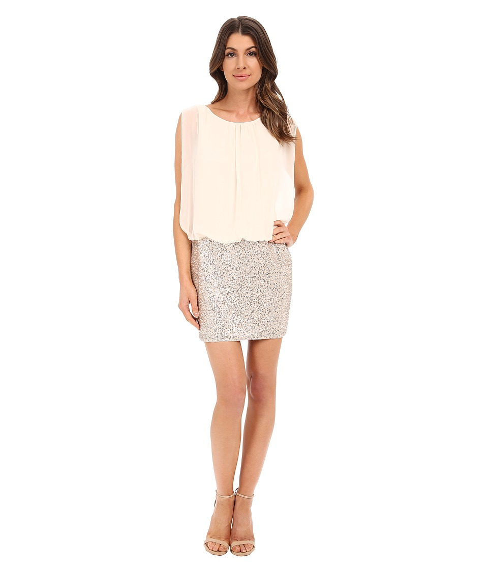 Aidan Mattox Blouson Cocktail Dress with Stretch Sequin Skirt Champagne/Silver Womens Dress