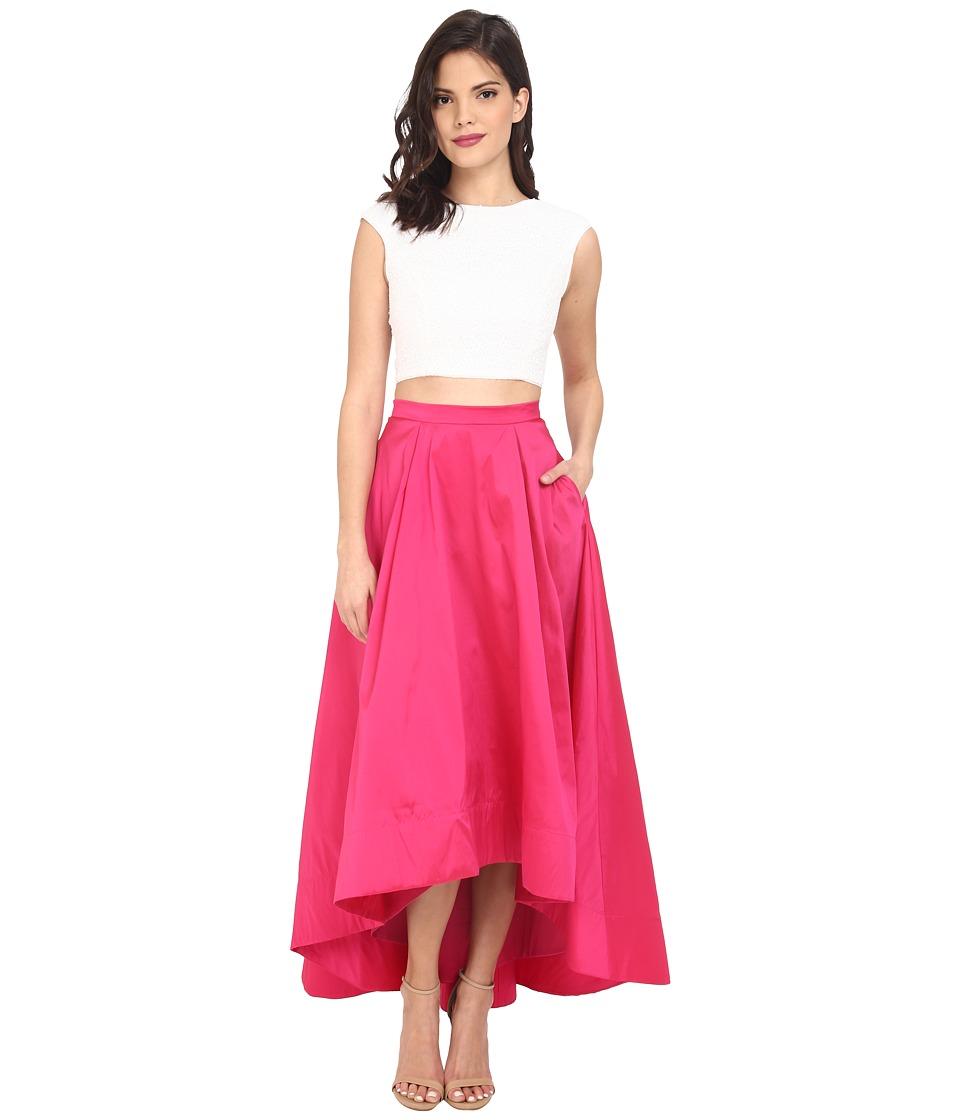 Aidan Mattox Cap Sleeve Sequin Top with Taffeta A Line High Low Skirt Ivory/Fuchsia Womens Dress