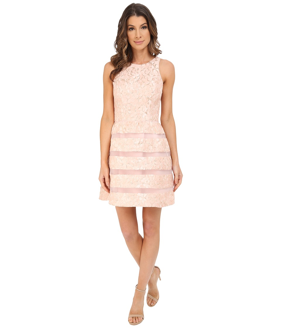 Aidan Mattox Jackquard Cocktail Dress with Illusion Stripe Skirt Detail (Blush) Women