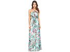 Printed Chiffon Long Halter Gown with Side Cut Outs
