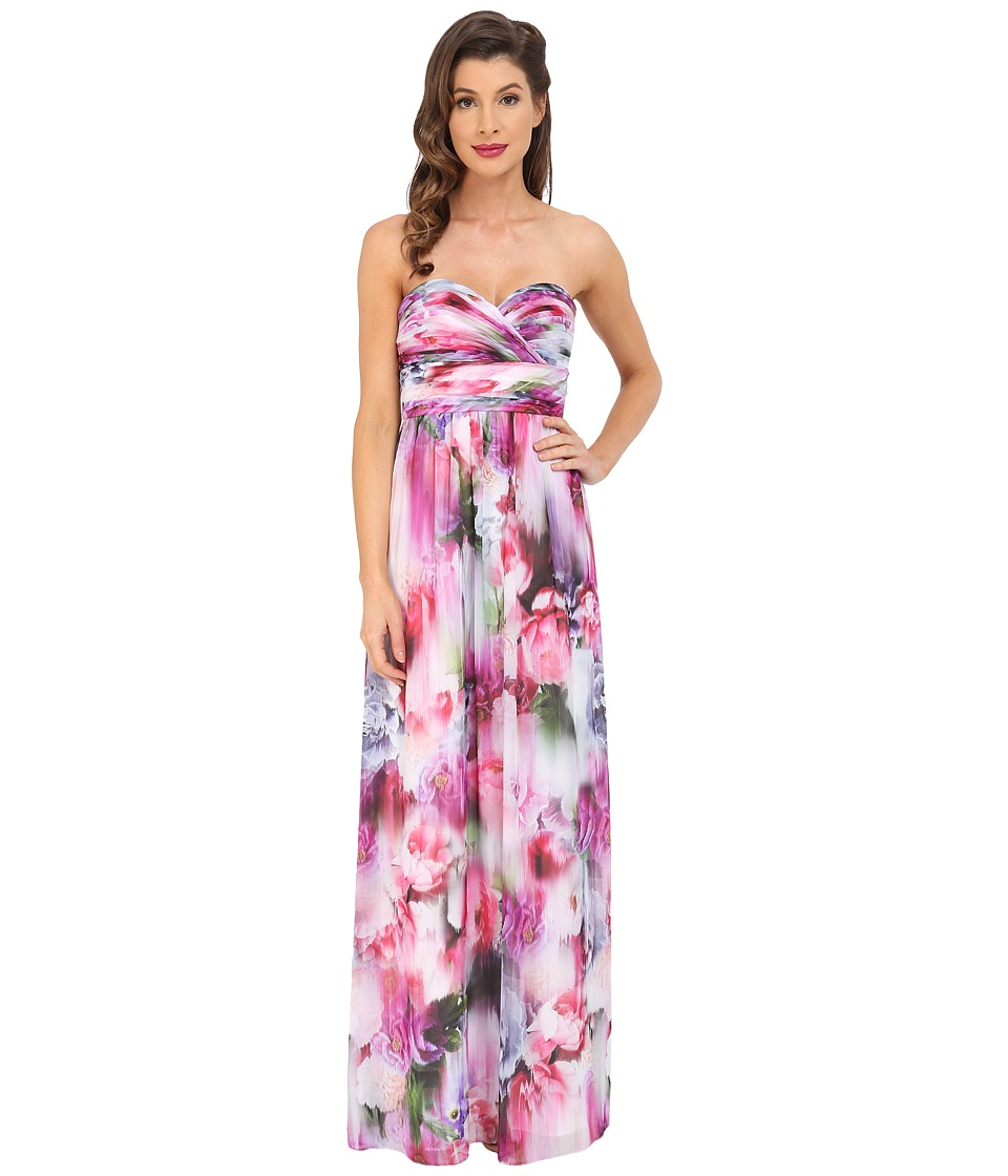 Aidan Mattox Strapless Printed Chiffon Gown with Shirrred Bust Detail (Pink/Multi) Women
