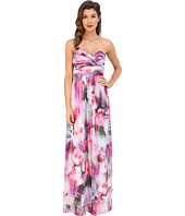 Aidan Mattox - Strapless Printed Chiffon Gown with Shirrred Bust Detail